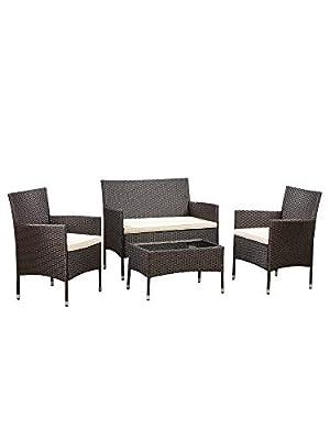 Amazon Basics Outdoor Patio Garden Faux Wicker Rattan Chair Conversation Set with Cushion - 4-Piece Set, Brown