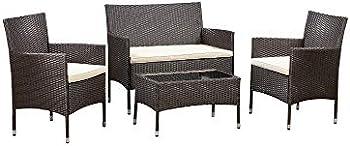 4-Piece Amazon Basics Outdoor Patio Garden Faux Wicker Chair Set