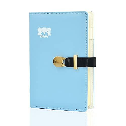 A5 Geheimes Notizbuch mit Vorhängeschloss und Schlüssel, niedliches PU-Leder Hardcover Tagebuch für Jungen Mädchen Kinder, abschließbarer Reise-Notizblock Skizzenbuch, 145 x 210 mm