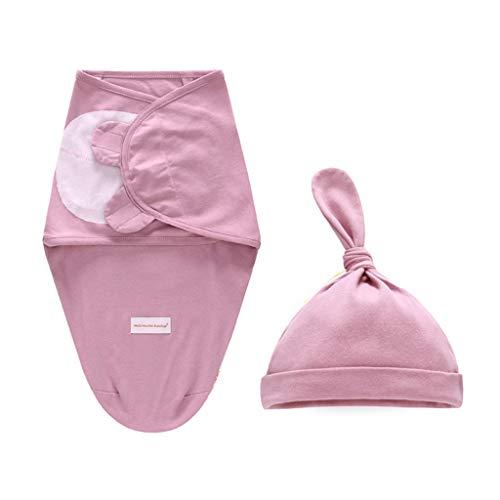 Manyo - 2 pz Copertina per neonato + cappellino per neonato, sacco a pelo, in cotone, accessorio per foto per neonati, colore: Viola (misura S: 0-3 mesi)