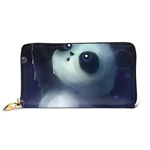 HUBGFEQ Leather Wallet,Panda Pattern Print Wallet Genuine Leather Card Holder Phone Checkbook Organizer Zipper Coin Purse,Unisex