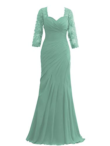 HUINI Damen Abendkleider Ballkleider Lang Chiffon Hochzeitskleider Elegant Standesamt Brautkleider mit 1/2 Ärmel Salbei 46