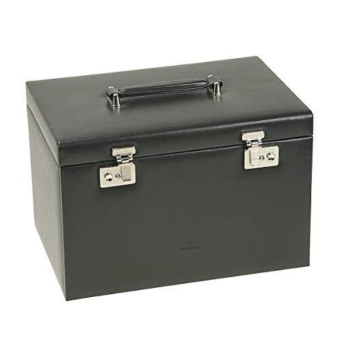 Windrose Ambiance Schmuckkoffer/Uhrenkoffer 5 Etagen aus Leder schwarz