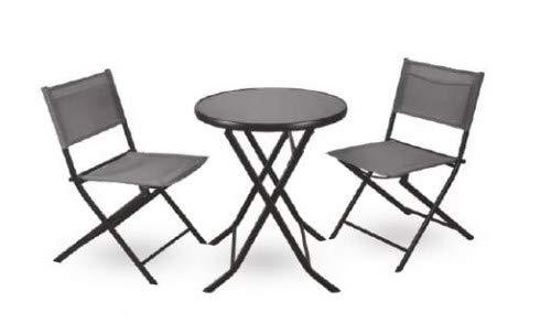 Juego de muebles de jardín Capri | Juego de muebles de balcón | Juego de asientos de mesa y sillas | Conjunto de muebles de terraza | Grupo de asientos para jardín de 3 piezas | Balcón sillas