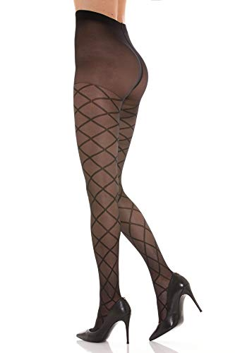 SANGIACOMO WE LOVE SOCKS Violetta Damen-Strumpfhose mit Rautenmuster, CD181056#3000011, Schwarz, CD181056#3000011 S