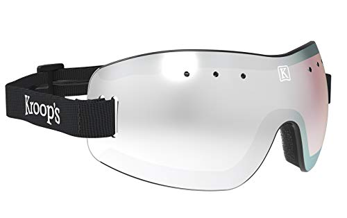 Kroop's 13-Five Goggles - Eyewear Protection from Wind, Dust, Snow, and Rain. Great for Skydiving, Cycling, Ski, Snowboard, and Other Sports. Safety Goggles That Look and Feel Great. Black Mirrored.