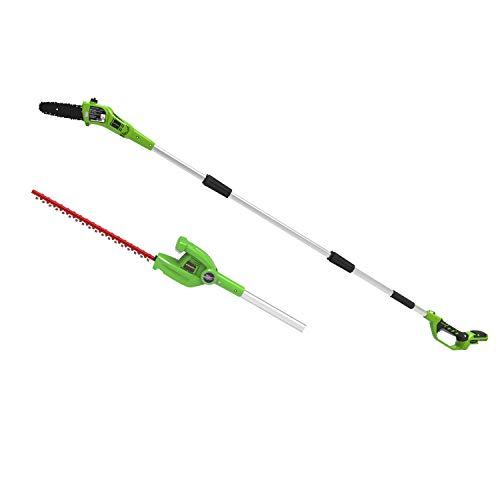 Greenworks Podadora de altura y cortasetos a batería 2en1 G24PSHK , Li-Ion 24V 20cm de longitud de hoja y 51cm con 18mm de grosor de corte incluyendo la correa para el hombro sin batería ni cargador
