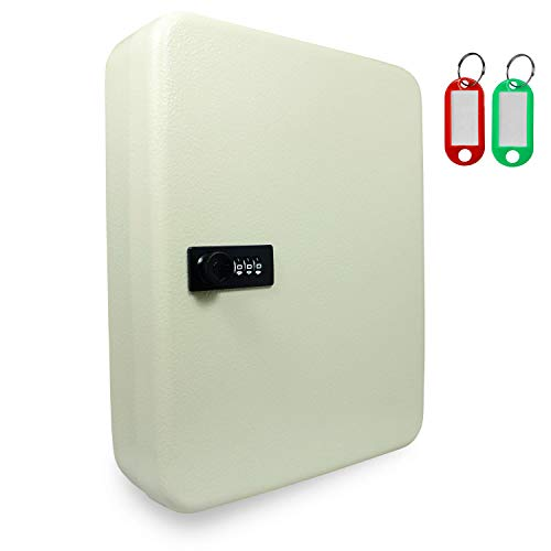 SAFE Schlüsselkasten abschließbar - Schlüsseltresor mit Zahlencode aussen - 3 stelliger Zahlencode - mit 45 Haken - inklusive Dübel zum aufhängen - Maße 300x 245x 70 mm