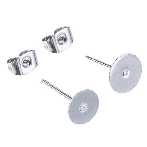 100 Stück Edelstahl Ohrringe Ohrring Stopper Pfosten Flat Pad (2 Größe) mit 100 Stück Ohrring Rücken für Ohrring Herstellung, Insgesamt 200 Stück