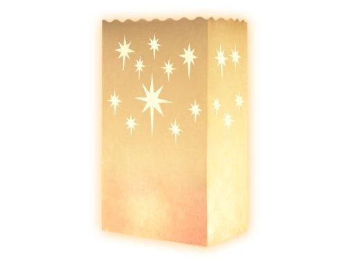 Lot de 10 sac à bougie (étoile aigue) lueur de sol blanc fête sachet pour bougies effet luminaire décoration illuminer terrasse soirée en plein air mariage de rêve romantique photophore en papier non inflammable farilitos luminarias lanterne