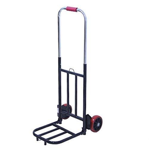 Carretillas y carretillas de pesca plegables de acero inoxidable con ruedas de PVC antipinchazos y capacidad de 100 kg, carretillas negras con ruedas para carretilla, carretilla de saco y ruedas