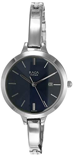 Titan Raga Viva analógico esfera azul de la mujer watch-2578sm01