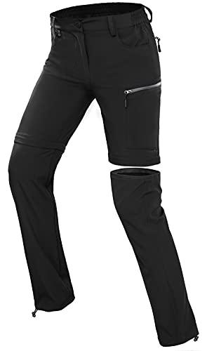 Wespornow Damen-Zip-Off-Wanderhose-Trekkinghose Atmungsaktiv Schnell Trockend Outdoorhose Abnehmbar Funktionshose Stretch Sommer Hosen (Dunkles Schwarz, L, l)