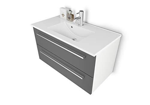 Sieper Waschtischunterschrank Libato - Unterschrank Verschiedene Größen - weiß oder anthrazit Hochglanz - Badmöbel Badezimmermöbel Waschtisch Unterschrank Badmöbel (90, Arktisgrau + Weiß)
