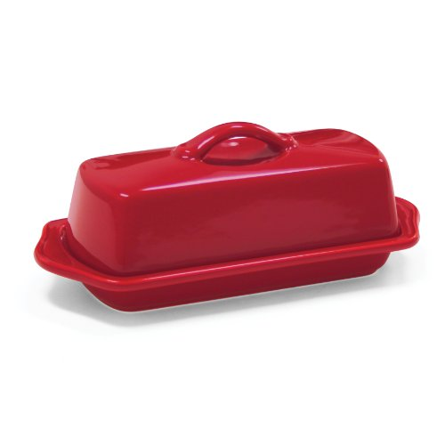 red glass butter dish - 2