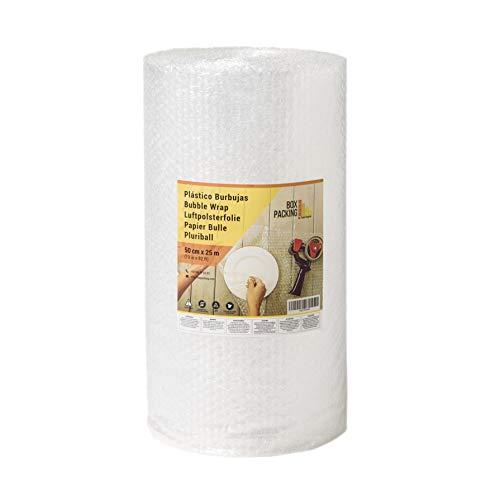 BOXPACKING | Rollo de Plástico de Burbujas | 50 cm ancho x 25 m largo | Papel Burbuja para Embalaje y Mudanza