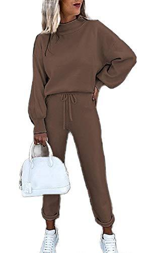 Damen-Trainingsanzug-Set mit hohem Halsausschnitt, einfarbig, zweiteilig Gr. Large, coffee