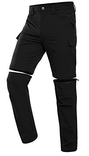 Vzteek Herren Wanderhose Zip Off Trekkinghose Outdoorhose Sommer Softshell Stretch Hose Kurz für Wandern,Abnehmbar,Baggy,Fahrrad,arbeits (Dunkles Schwarz, L)*
