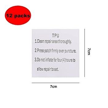 Lre Co. 12 Pièces Patch Réparation Transparent, TPU Imperméable Réparation des Autocollants Tenacious Tape pour Doudoune, Auvents, Dériveurs et Matelas Gonflables