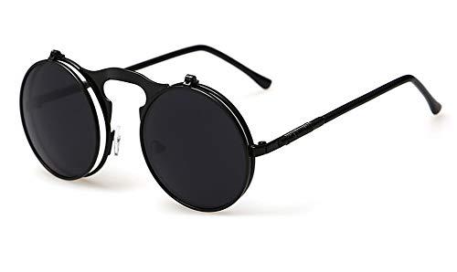Sopaila Round Vintage Flip Up Sunglasses Juniors John Lennon Style Circle Sun Glasses,black