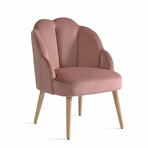 Samt Sessel mit Gebogenen Armlehnen Wohnzimmer Modern Relax Barock Stuhl für Schminktisch mit Rückenlehne Armlehnenstuhl Ohrensessel Polsterstuhl mit Armlehne Sessel Rosa