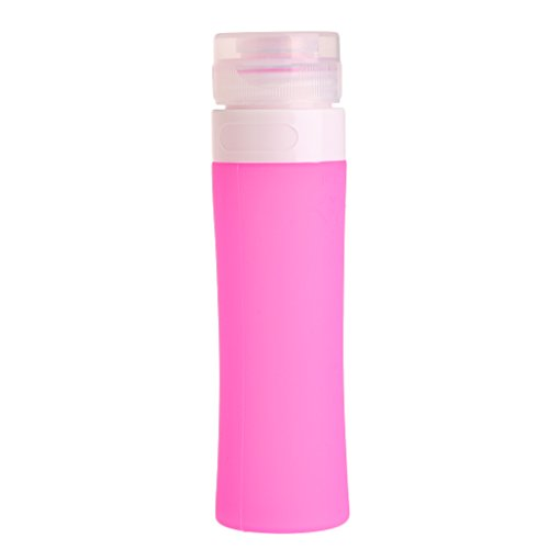 JunYe herbruikbare draagbare badkuiphouder, 80 ml shampoo, reislotion, siliconen fles - Hot Pink