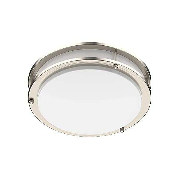 LED Flush Mount Ceiling Light | Dimmable | Brushed Nickel | Double Ring | Round (10 inches, 3000K Warm White)