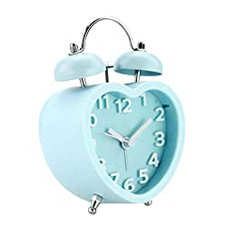 VOSAREA Twin Bell Alarm Clock Heart Shaped Clock Classic Desk Table Clock for Home Office Gift Without Battery (Blue)