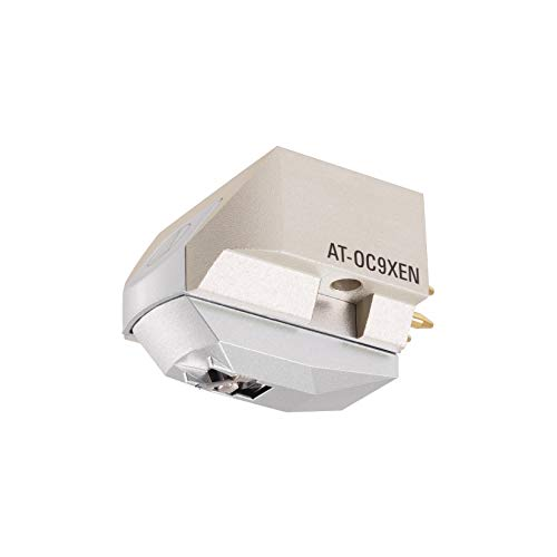 "Audio Technica AT-OC9XEN Dual Moving Coil Cartridge with Elliptical Stylus 1/2"" Mount includes Mounting Harware and brush (White/Silver)"