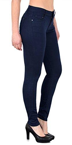 ESRA Damen Stretch Hose Skinny Stoffhose High Waist Hose in Vier Farben bis Übergröße H520