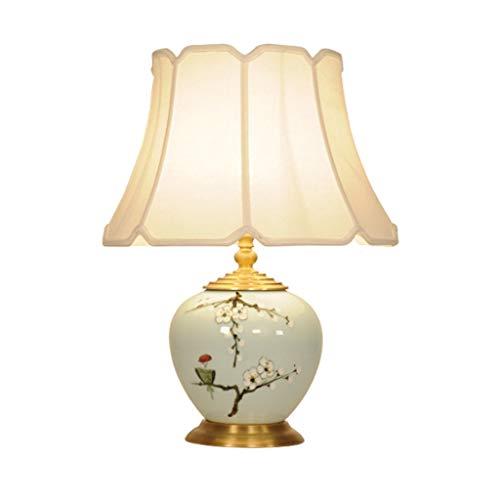 Lampe de table salon décoration chambre lampe de chevet ronde lampe de bureau moderne tissu ombre veilleuse en métal décoration en céramique chinoise