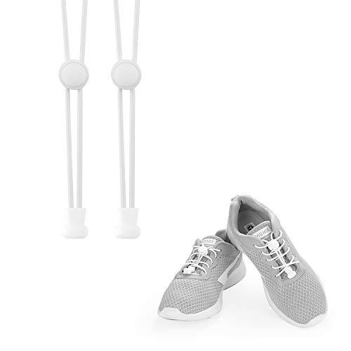 KATELUO Elastische Schnürsenkel mit Schnellverschluss Schnellschnürsystem ohne Binden für einzigartigen Komfort, perfekten Sitz und starken Halt (weiß)