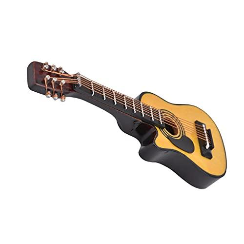 LIKJ Casa de muñecas Guitarra en Miniatura, Modelo de Guitarra de Madera Duradera Hecha a Mano para Casas de muñecas para Cajas(Folk Pop Guitar, Blue)