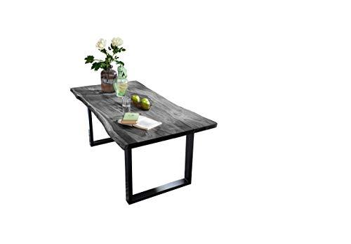 Sit Möbel, tafel, tafel, 200 x 100 cm, plaat antiekgrijs, onderstel zwart acacia, frame staal L = 200 x B = 100 x H = 77 cm, plaat antiekgrijs gelakt, frame aniekzwart gelakt