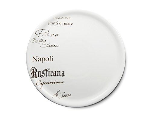 CreaTable - EUROPA GUSTOSO - Pizzateller 30,5 cm aus Porzellan mit Schriftdekor