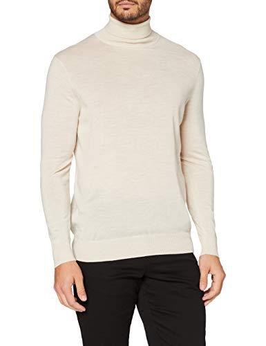Marchio Amazon - MERAKI Pullover Lana Uomo, Beige (farina d'avena)., M, Label: M