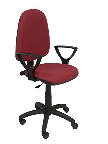 PIQUERAS Y CRESPO Modello 04CP - Sedia da ufficio ergonomica con meccanismo di contatto permanente e regolabile in altezza - Sedile e schienale imbottiti in tessuto BALI colore granato (BRACCIOLI FISSI INCLUSI)