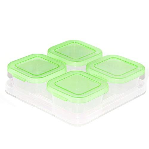 PPuujia Frischhaltebox klein Gitter Dessert Obst separate Aufbewahrung Gefrierbox Ergänzungsfutterbox Frischhaltebox Babynahrung Supplement-Aufbewahrungsbox (Farbe: 14 grün 4)