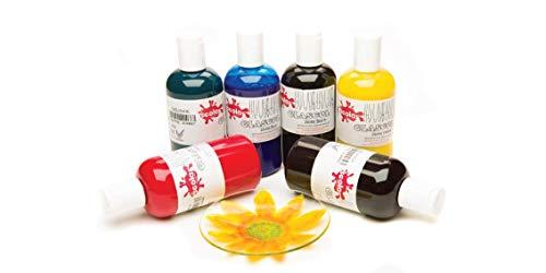 Scolaquip Glascol Pittura per Vetro, Materiali Artistici Educativi per Bambini, 6 x 150ml, Colori Assortiti