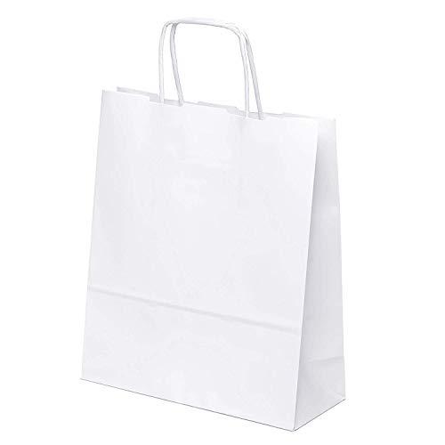 kgpack 25pcs 20 x 24 x 8 cm Weiß Papiertaschen Bodenbeutel Tragetaschen Obstbeutel Mitgebseltüten Geschenktaschen Süßigkeiten Geschenkverpackung Gastgeschenke Tüten Weiß Kraft Geschenkpapier