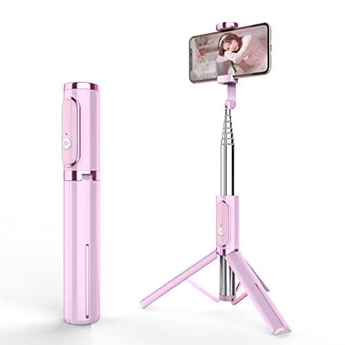 LXLTL Selfie Stick Trípode, extensible 3 en 1 de acero inoxidable Bluetooth Selfie Stick con control remoto inalámbrico de rotación de 360°, compatible con iPhone y Android Selfies, rosa