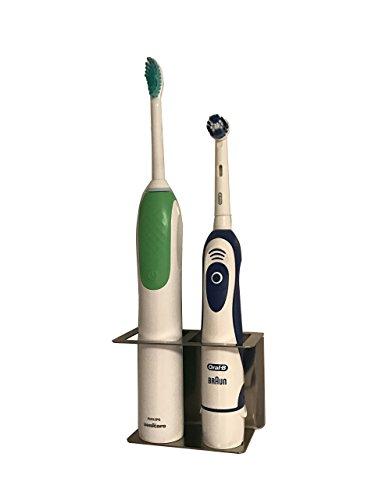 Zahnbürstenhalter aus Edelstahl für elektrische Zahnbürsten 2 Plätze