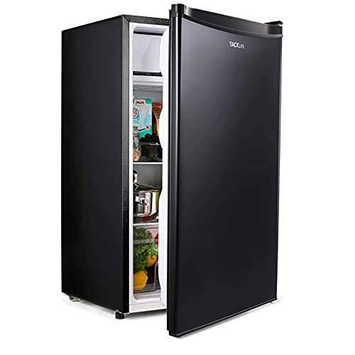 TACKLIFE Mini Fridge with Freezer 3.2 Cu.ft 37dB, Energy Star, 5 Temperature Adjustable, Low-frost Compact Refrigerator for Bedroom, Office or Dorm, Black