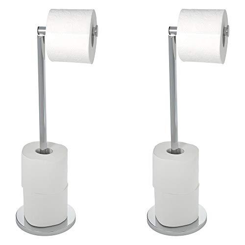 Wenko 69500800 Stand Toilettenpapierhalter 2 in 1 Glänzend, 2er Set, Edelstahl