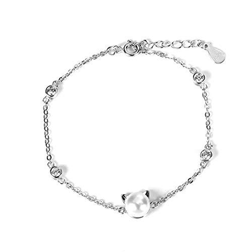 Boenxuan Niedlich Katze Kätzchen Damen Armband 925 Sterling Silber,Zirkonia Perle Armkette Verstellbar Charm Armkettchen Armreif,Silber