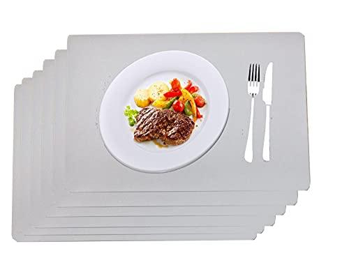 6 Piezas Mantel Individual Gris de Cuero Sintético, Salvamanteles Individuales para Lavables a Prueba de Agua para Cocina Casera Restaurante 45x30cm