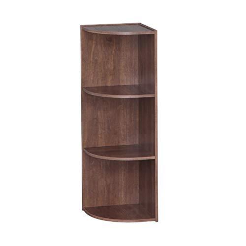 IRIS USA 3-Tier Corner Curved Shelf Organizer, Dark Brown