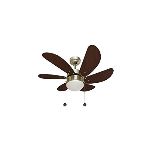 003 Ventilador de techo con luz 1XE27 acabado cuero/cerezo, 6 palas y motor reversible. AkunaDecor.