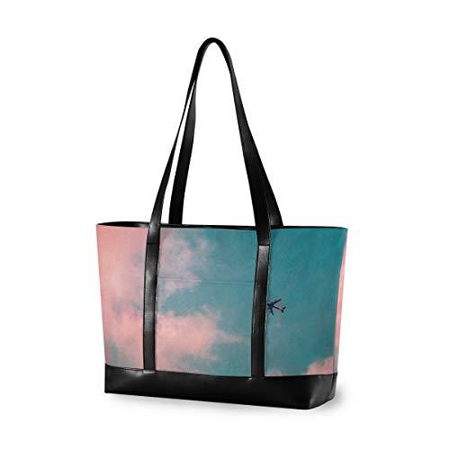 Flugzeug Air Sky Laptoptasche für Damen Canvas Messenger Bag Business Büro Schule Computer Tasche für 15,6 Zoll Laptop & Tablet Professionelle Große Kapazität Aktentasche Handtasche Schultertasche