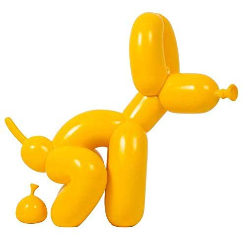 YB&GQ Chien Et Caca Brillants De Ballon Figurines,Jeff Koons Art Sculpture Fait à La Main Chiot Statues Créatif Cadeau Moderne Décoration Office Ornements Jaune 23x9.5x22cm(9x4x9inch)
